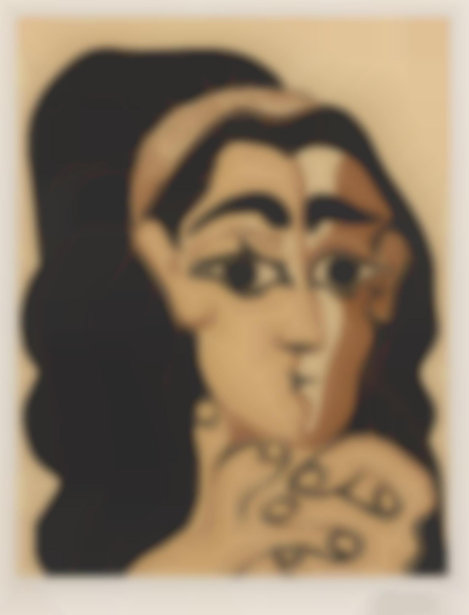 Pablo Picasso-Portrait De Jacqueline Au Bandeau Accoudee (Femme Au Bandeau)(B. 1081; Baer 1306)-1962