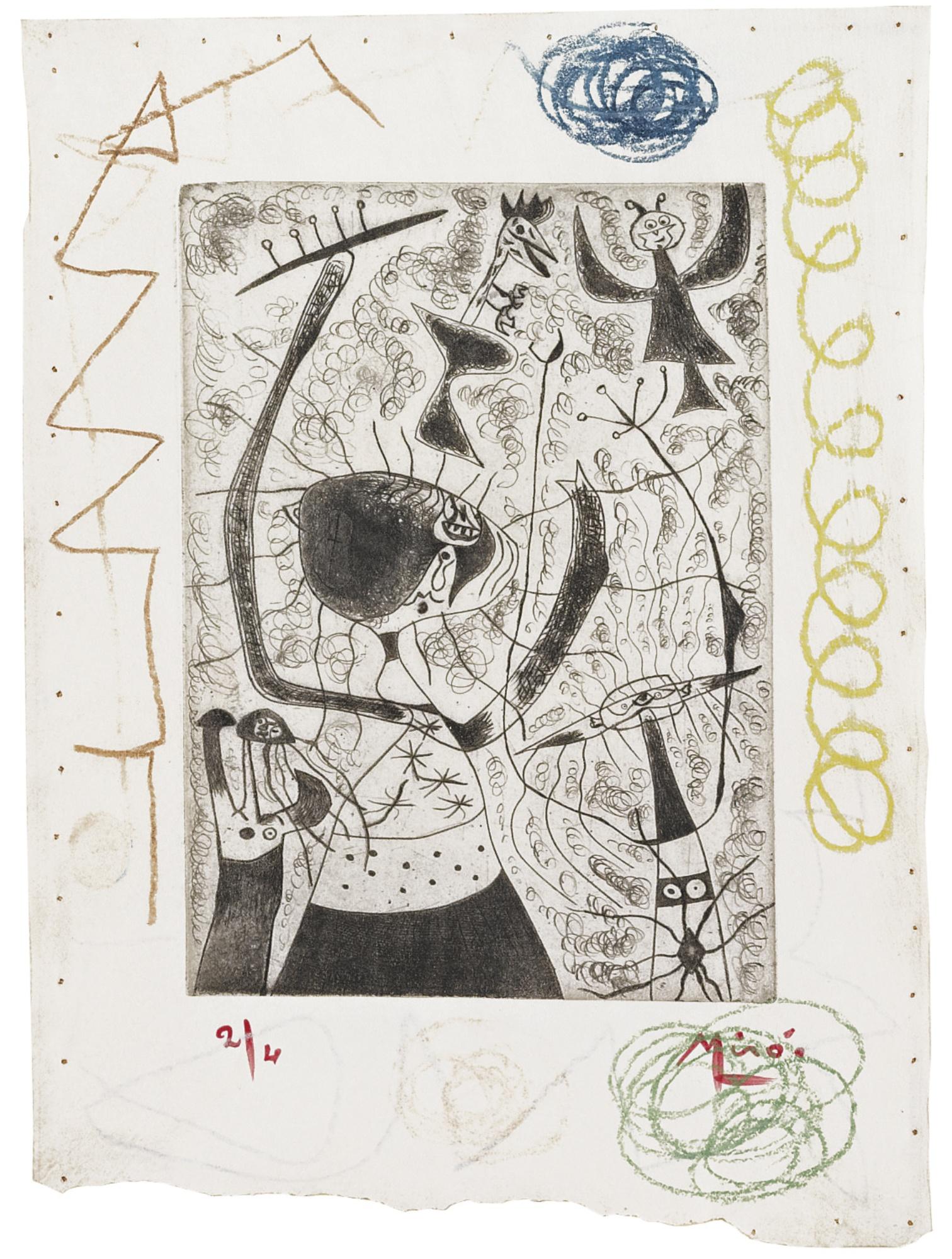 Joan Miro-Les Trois Soeurs (Dupin 25)-1938