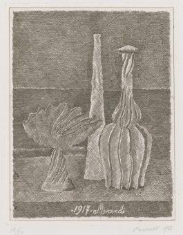 Giorgio Morandi-Natura Morta Con Compostiera Bottiglia Lunga E Bottiglia Scannellata(V. 50)-1928