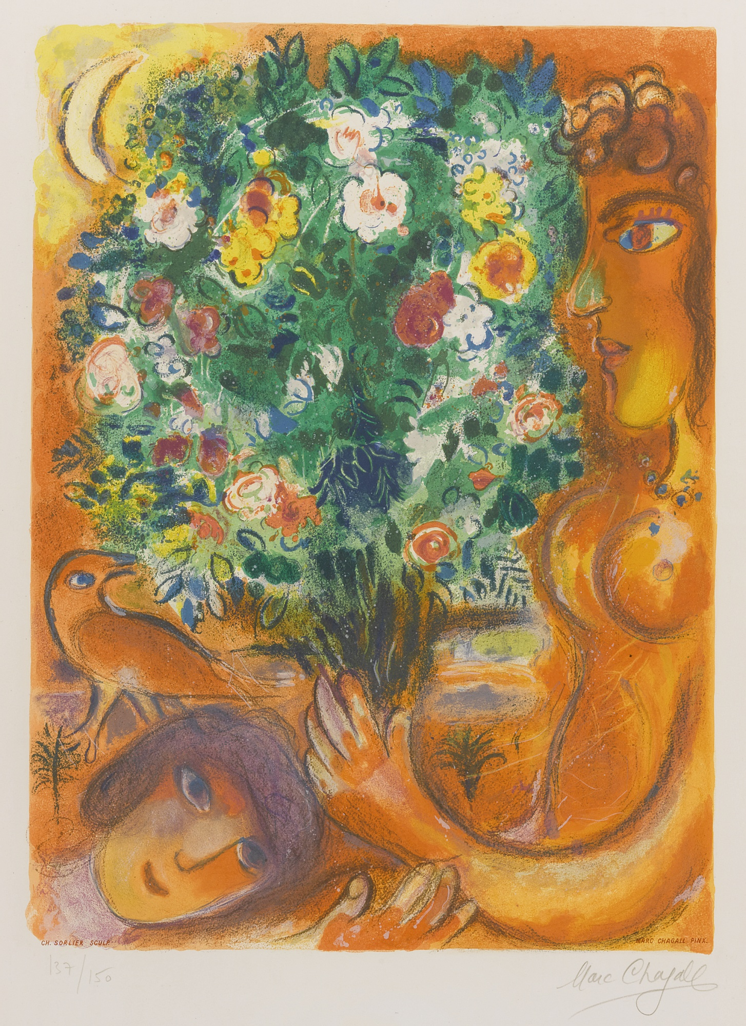 Charles Sorlier-Charles Sorlier after Marc Chagall - Femme Au Bouquet (M. Cs 37)-1967
