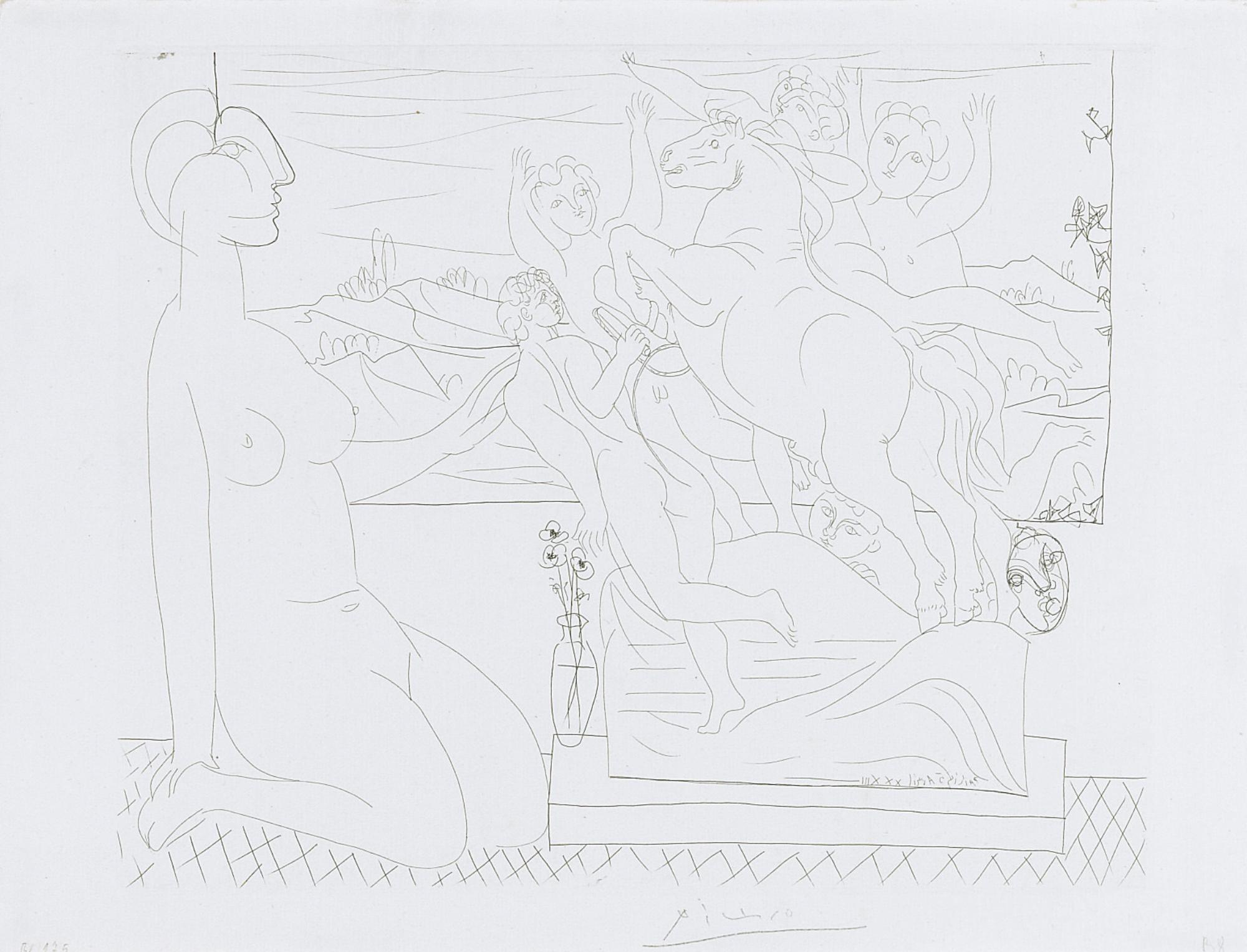 Pablo Picasso-Marie-Therese Agenouillee Contemplant Un Groupe Sculpte (B. 175; Ba. 328)-1933