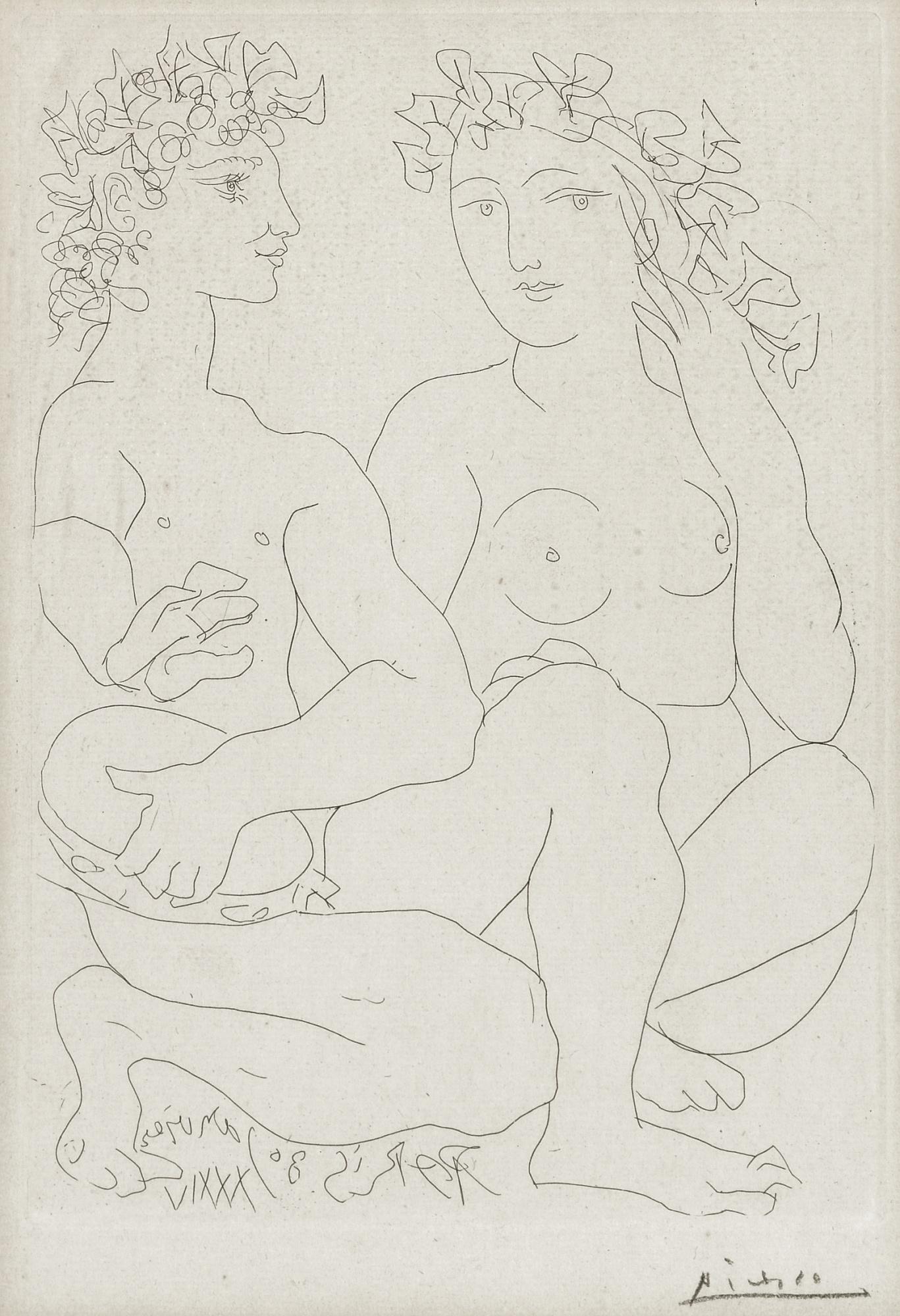 Pablo Picasso-Jeune Bacchus Au Tambourin Avec Une Bacchante(B. 212; Ba. 411)-1934