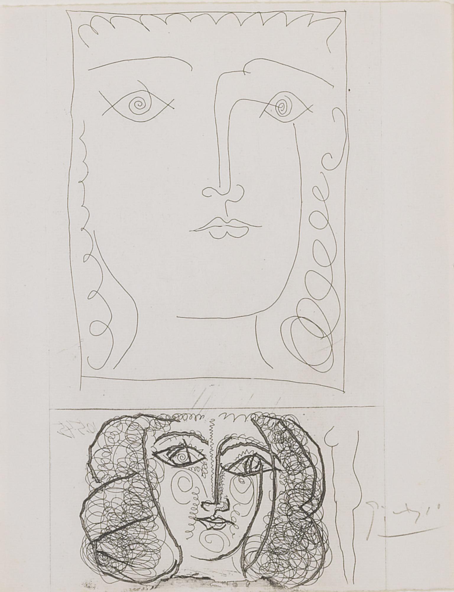 Pablo Picasso-Deux Tetes De Femme De Face (B. 373; Ba. 701)-1945