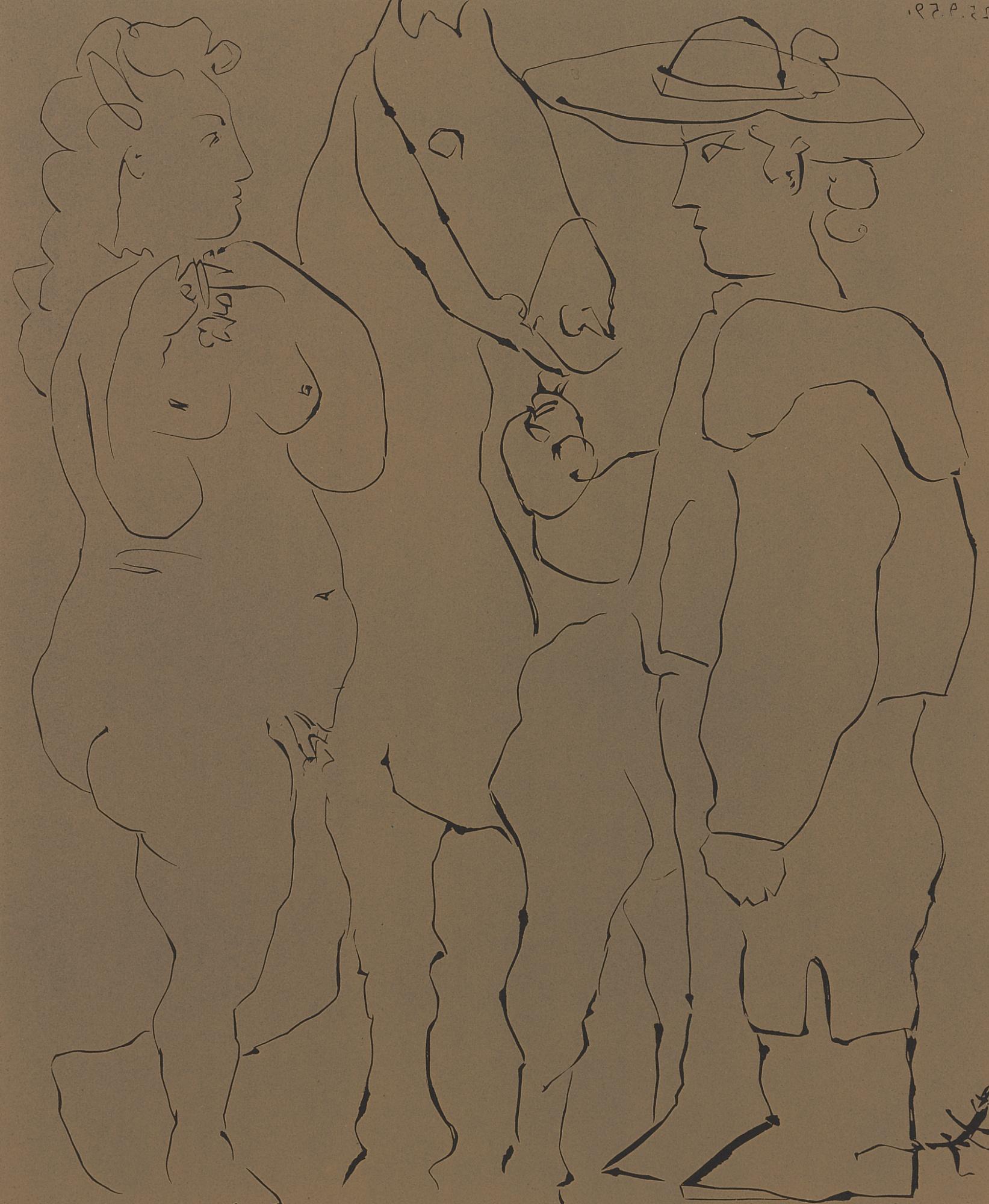 Pablo Picasso-Picador Debout Avec Son Cheval Et Une Femme (Picador Femme Et Cheval) (B. 913; Ba. 1238)-1959