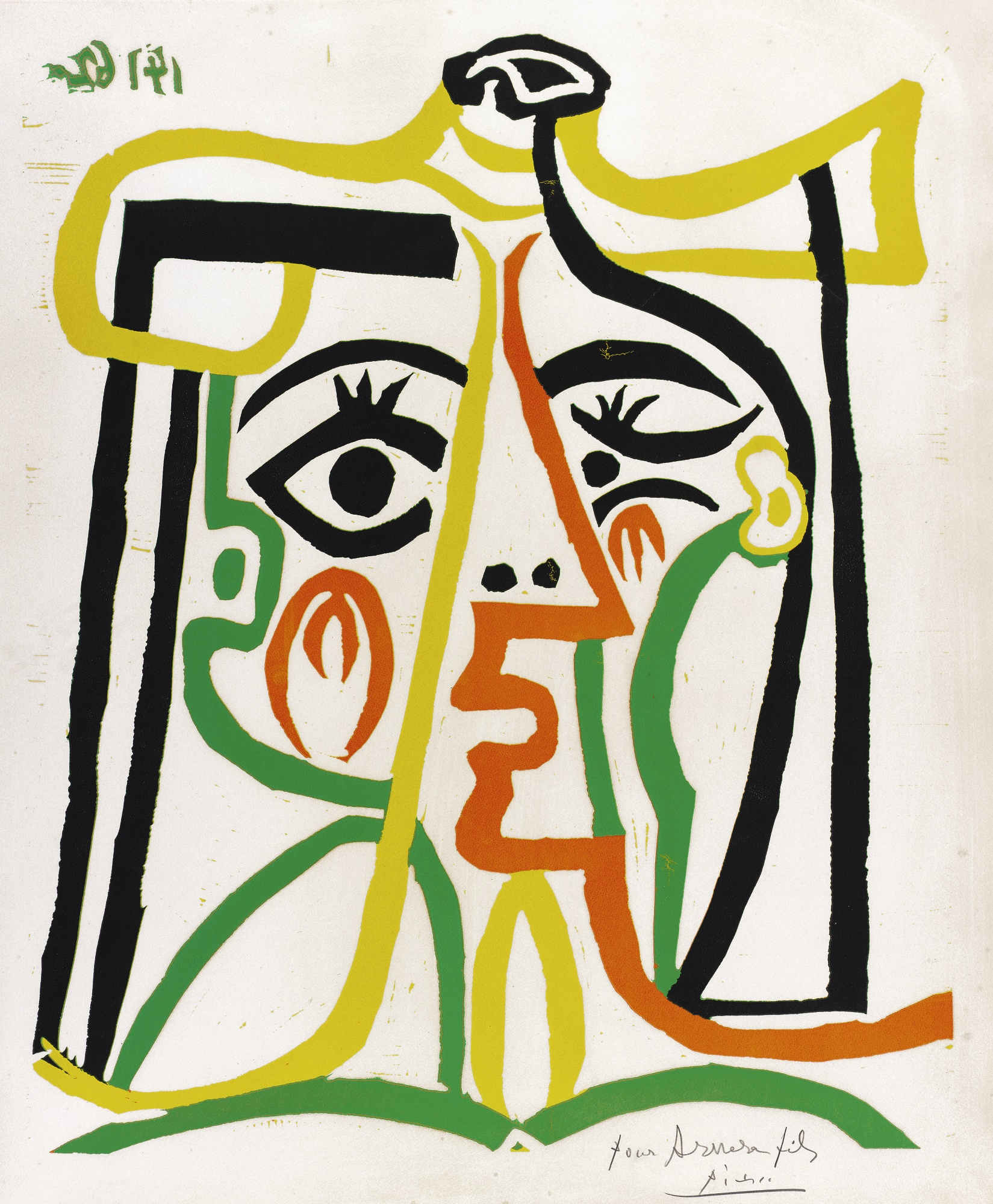 Pablo Picasso-Jacqueline Au Chapeau De Paille (Tete De Femme)(B. 1067; Ba. 1279)-1962