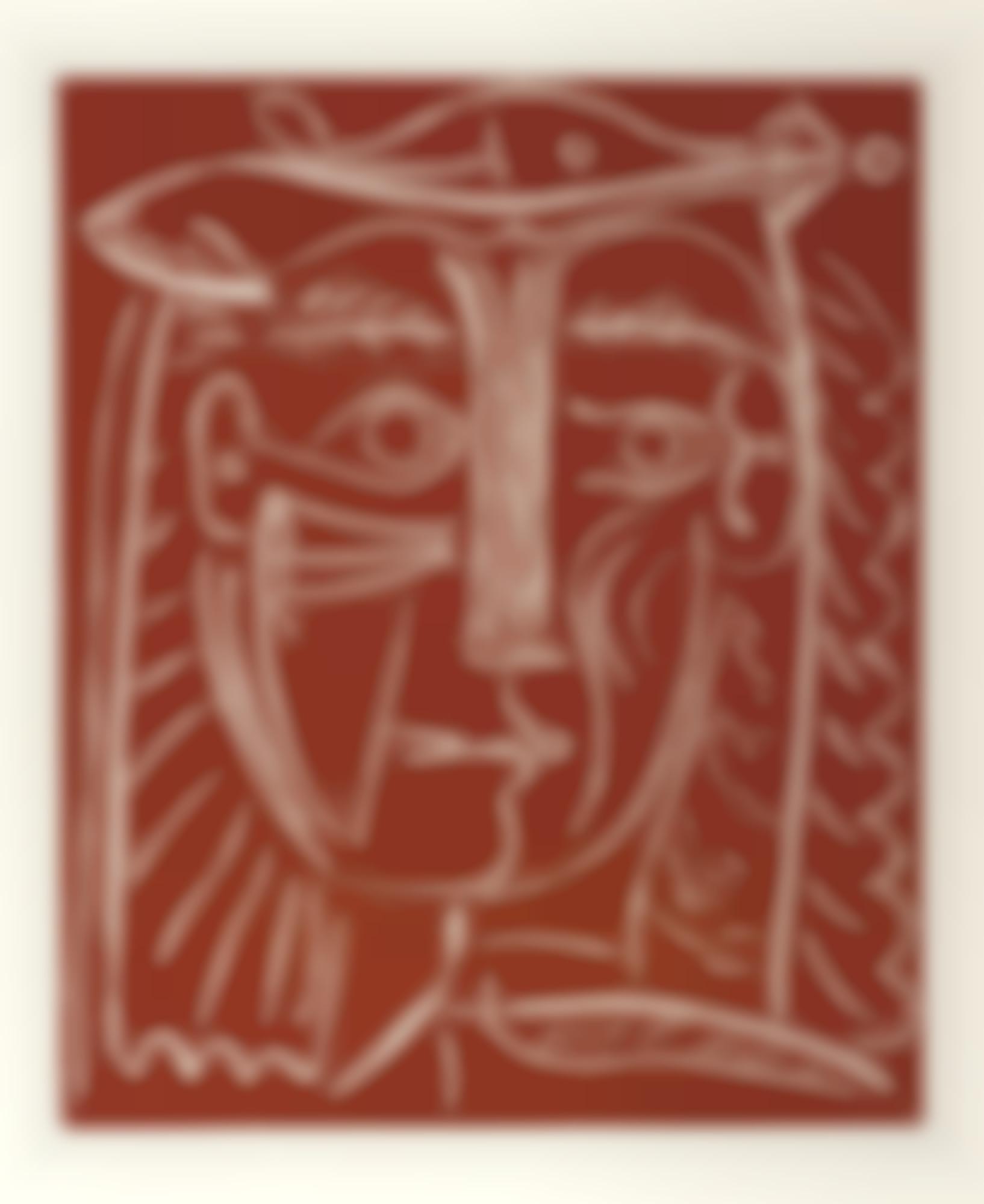 Pablo Picasso-Tete De Femme Au Chapeau/Paysage Avec Baigneurs (Ba. 1284)-1962