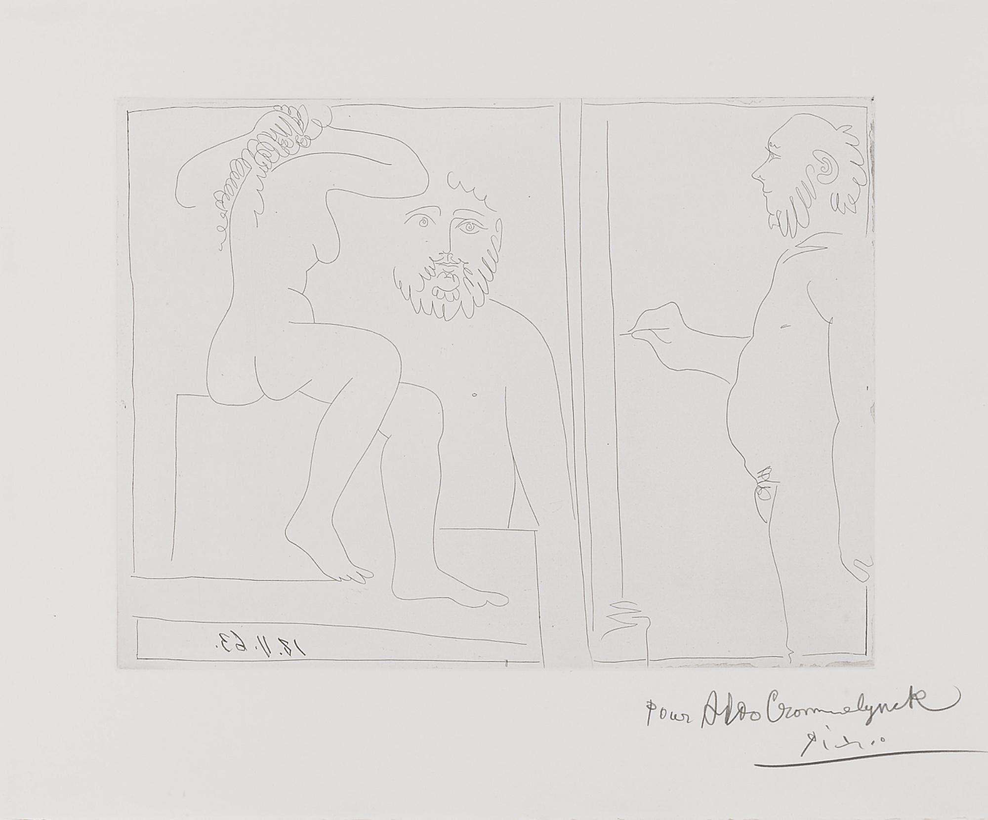 Pablo Picasso-Peintre Et Modele(B. 1132; Ba. 1129)-1963