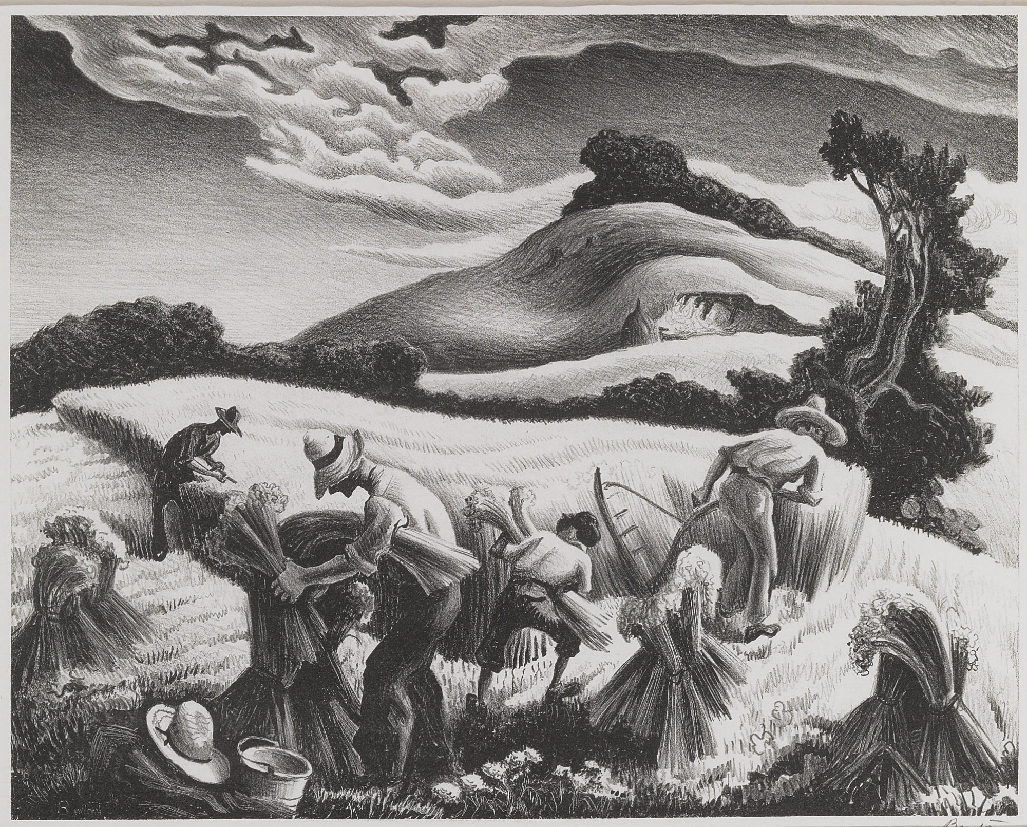 Thomas Hart Benton-Cradling Wheat (Fath 27)-1939