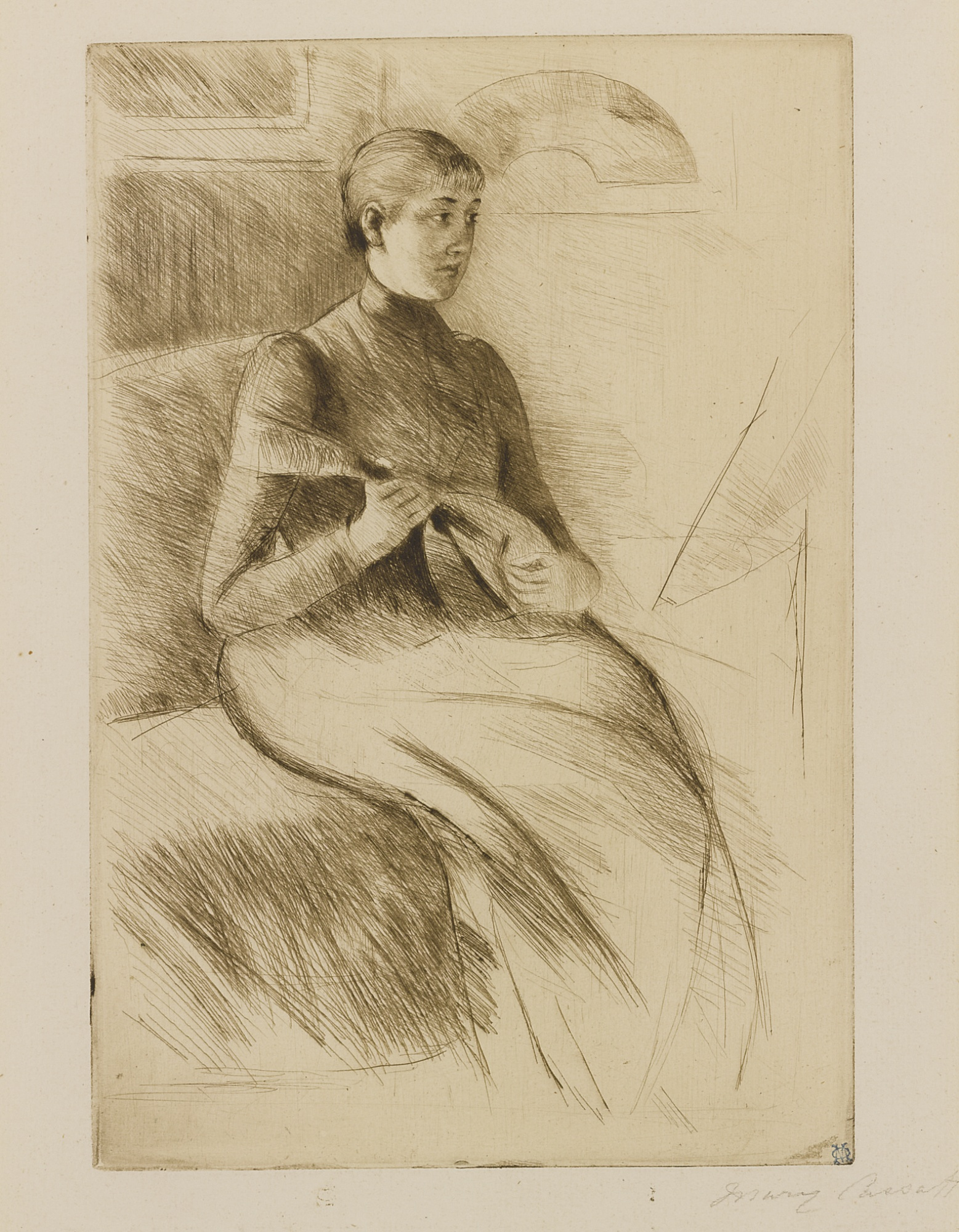Mary Cassatt-The Mandolin Player (Breeskin 130)-1889