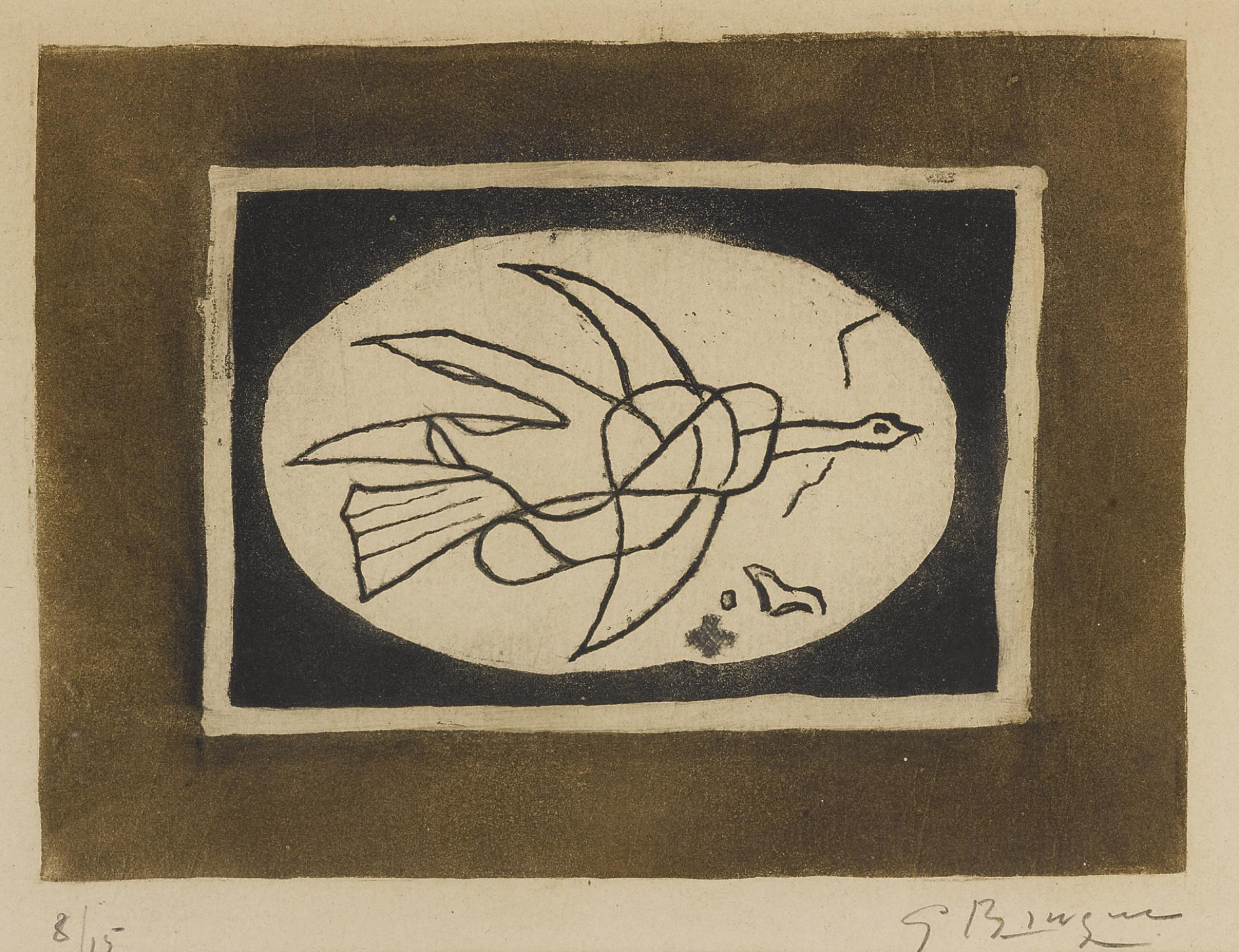 Georges Braque-Oiseau Marron I (Oiseau V) (V. 78)-1952