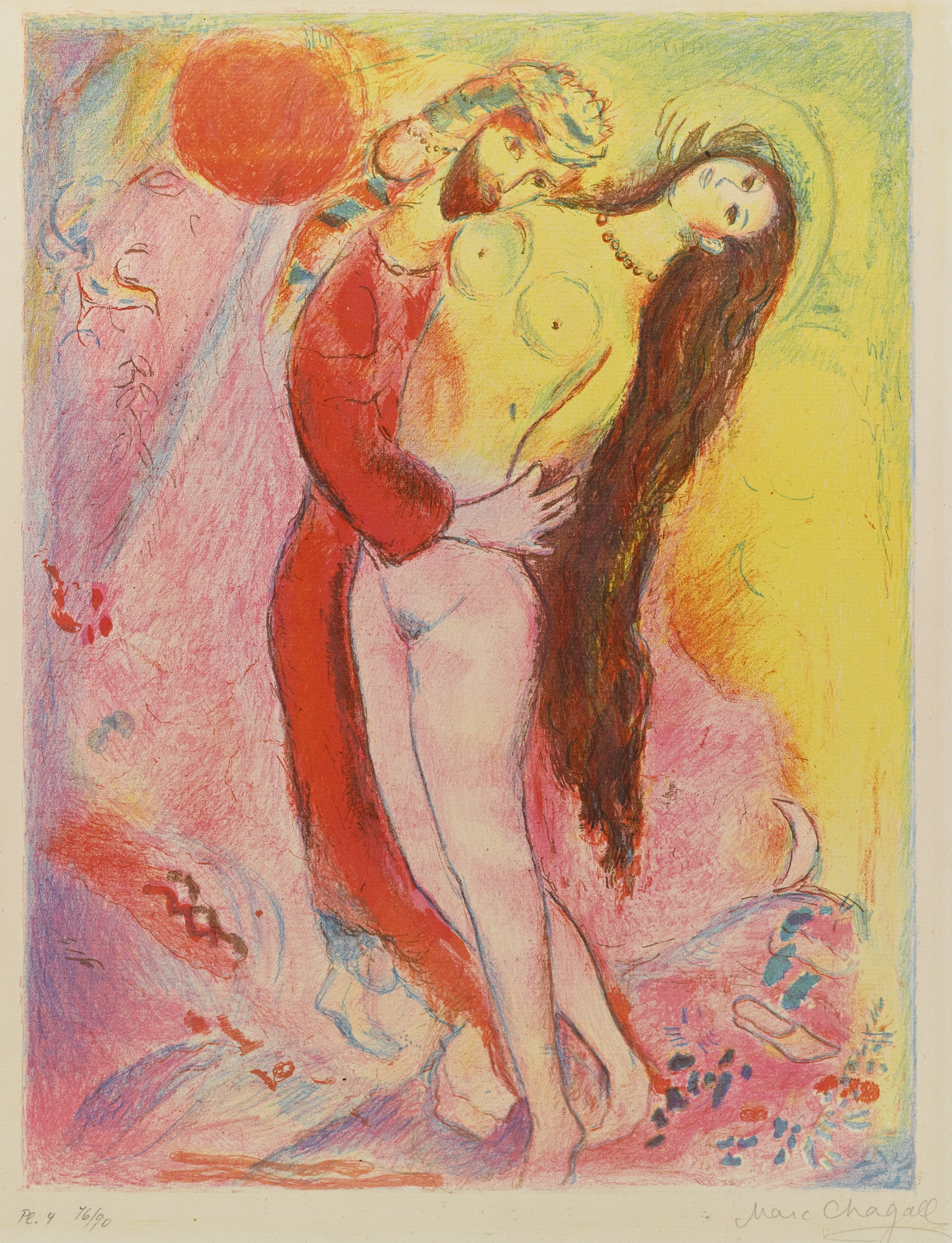 Marc Chagall-Disrobing Her With His Own Hand... (Mourlot 39)-1948