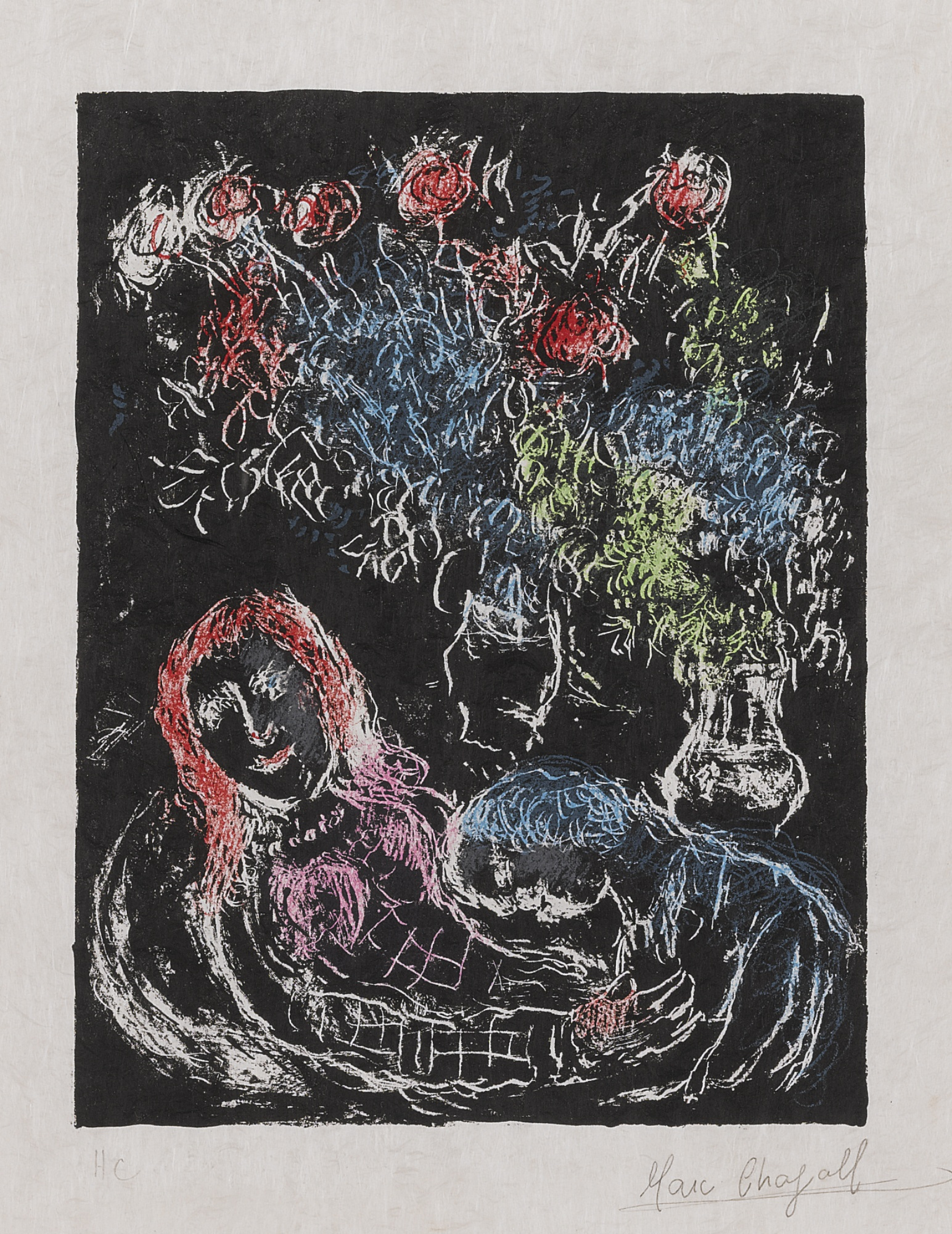 Marc Chagall-Couple Against A Black Background II (M. 707A)-1973