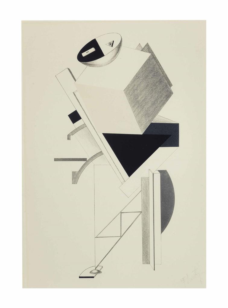 El Lissitzky-Posten, from Figurinenmappe. Die plastische Gestaltung der elektromechanischen Schau Sieg uber die Sonne-1923