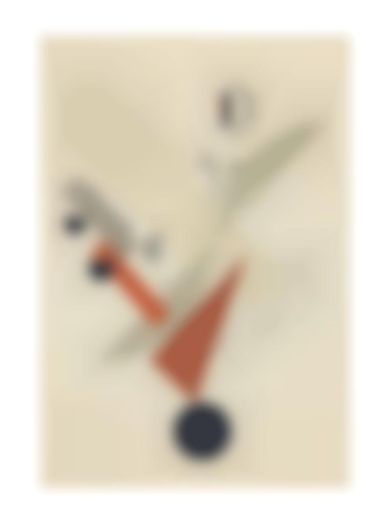 El Lissitzky-Globetrotter in der Zeit, from Figurinenmappe. Die plastische Gestaltung des elektro-mechanischen Schau Sieg uber die Sonne-1921