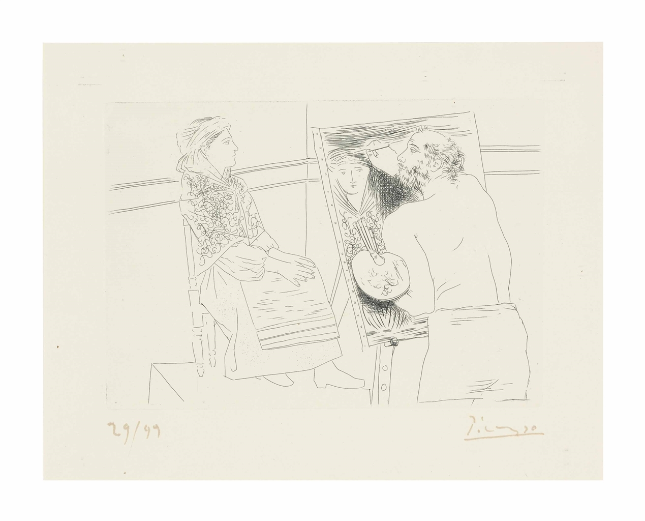 Pablo Picasso-Peintre Chauve Devant son Chevalet, from Le Chef d'Oeuvre Inconnu-1927