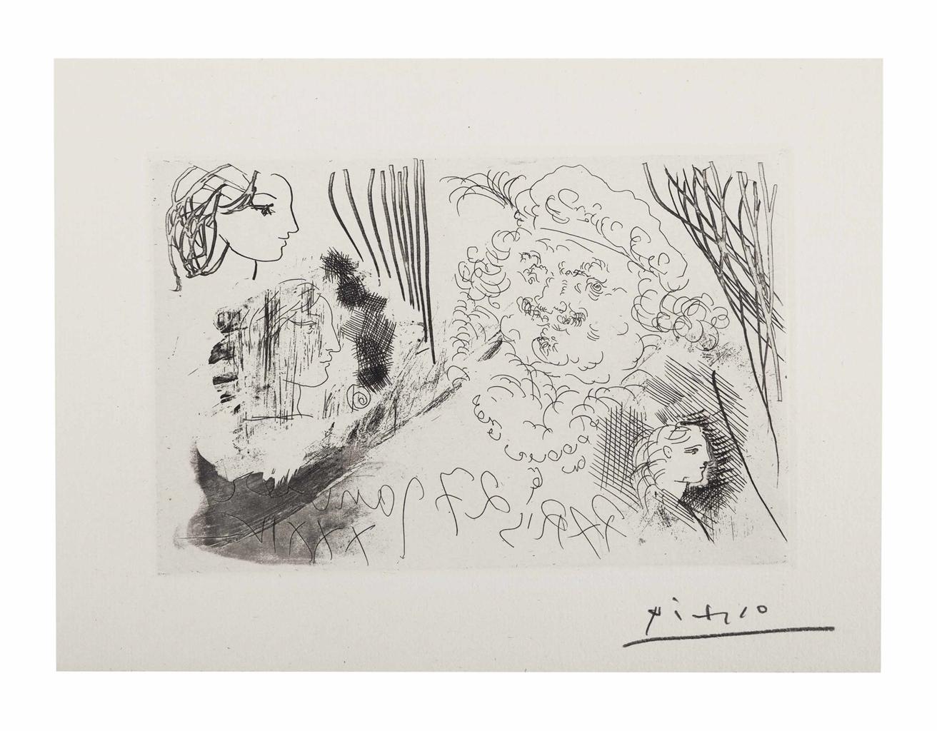 Pablo Picasso-Rembrandt et tetes de femmes, from La Suite Vollard-1934