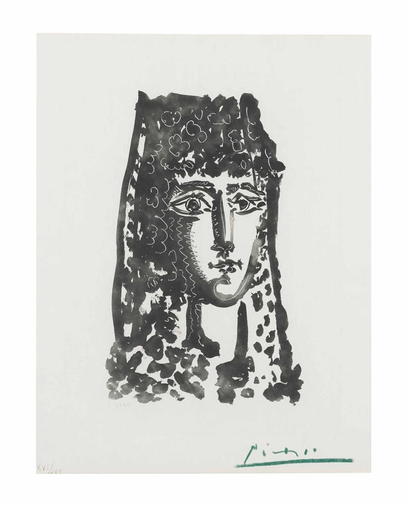 Pablo Picasso-Femme a la Mantille, from Les Carmen des Carmen-1949