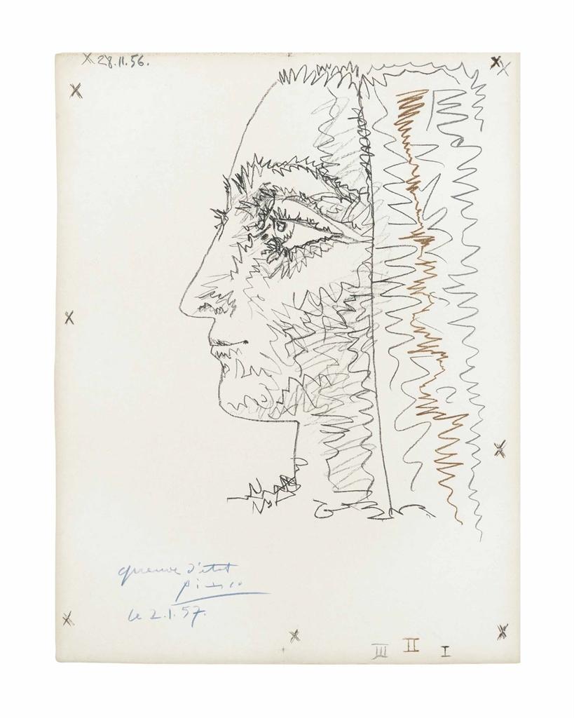 Pablo Picasso-Femme en Trois Colors-1956