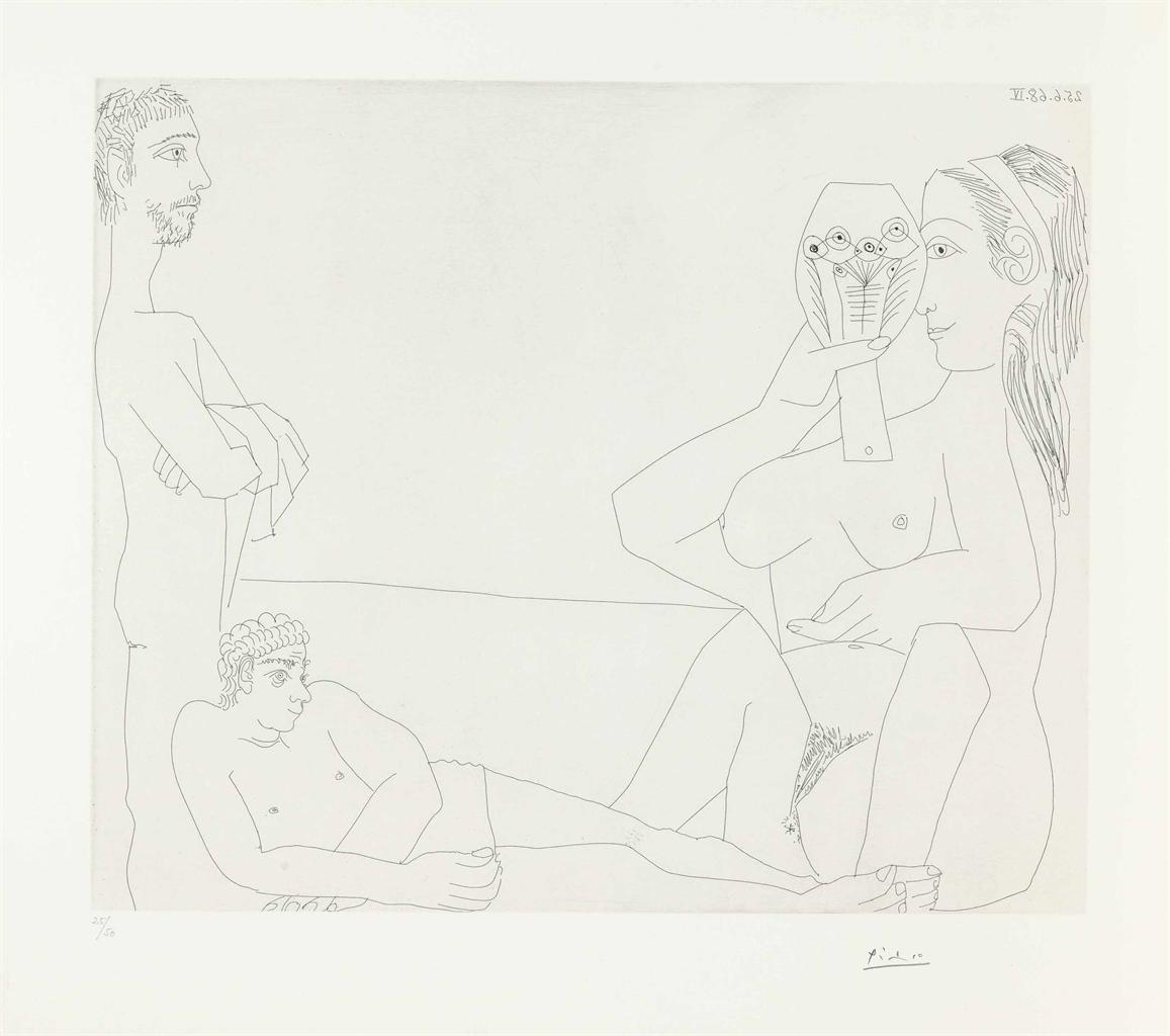 Pablo Picasso-Sur la Plage, Femme au Miroir et deux Baigneurs, from La Serie 347-1968