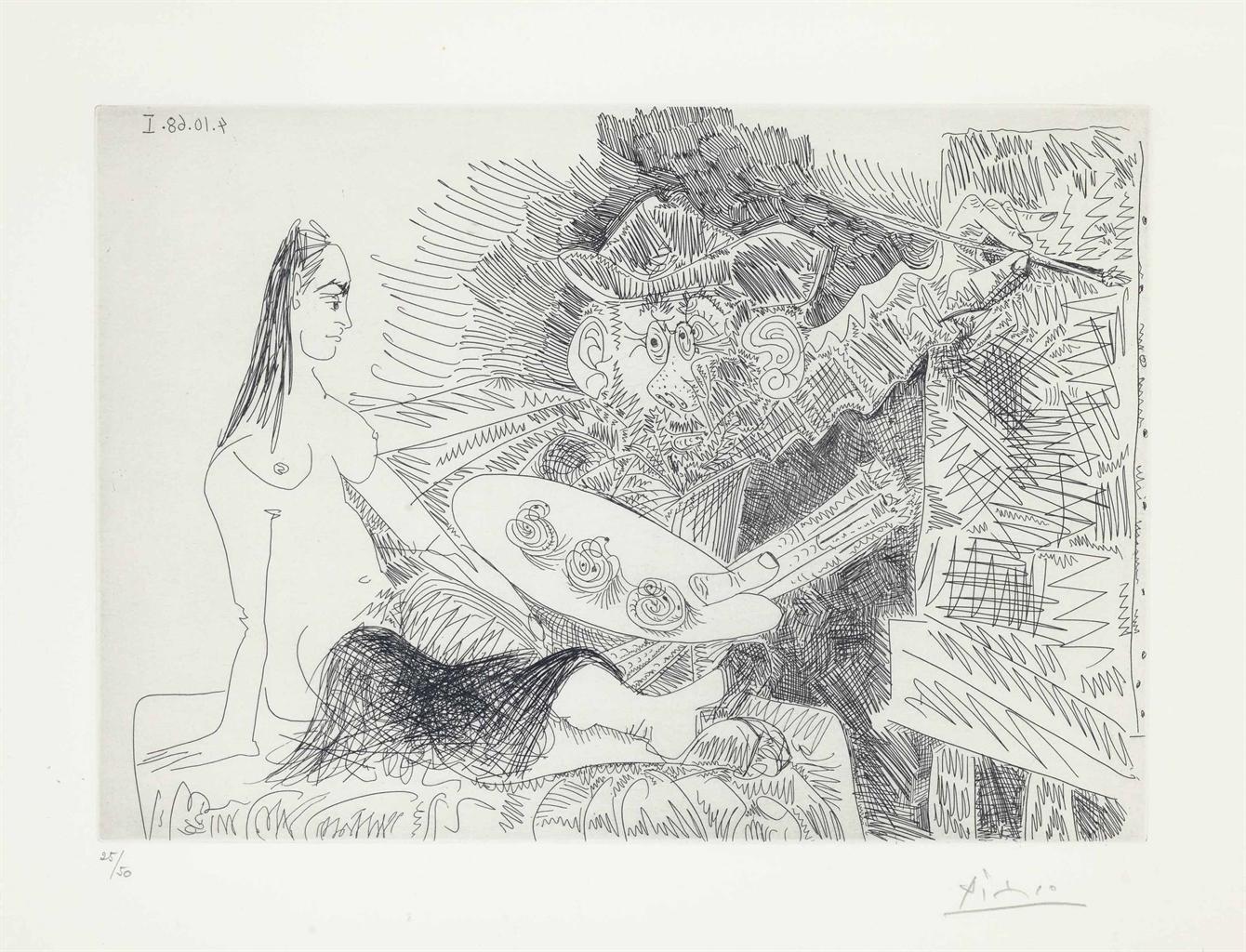 Pablo Picasso-Artiste peintre avec un modele qui boude, from La Serie 347-1968