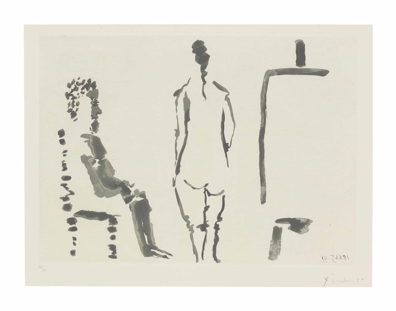 Pablo Picasso-Peintre au Repos Avec Modele de Dos-1965