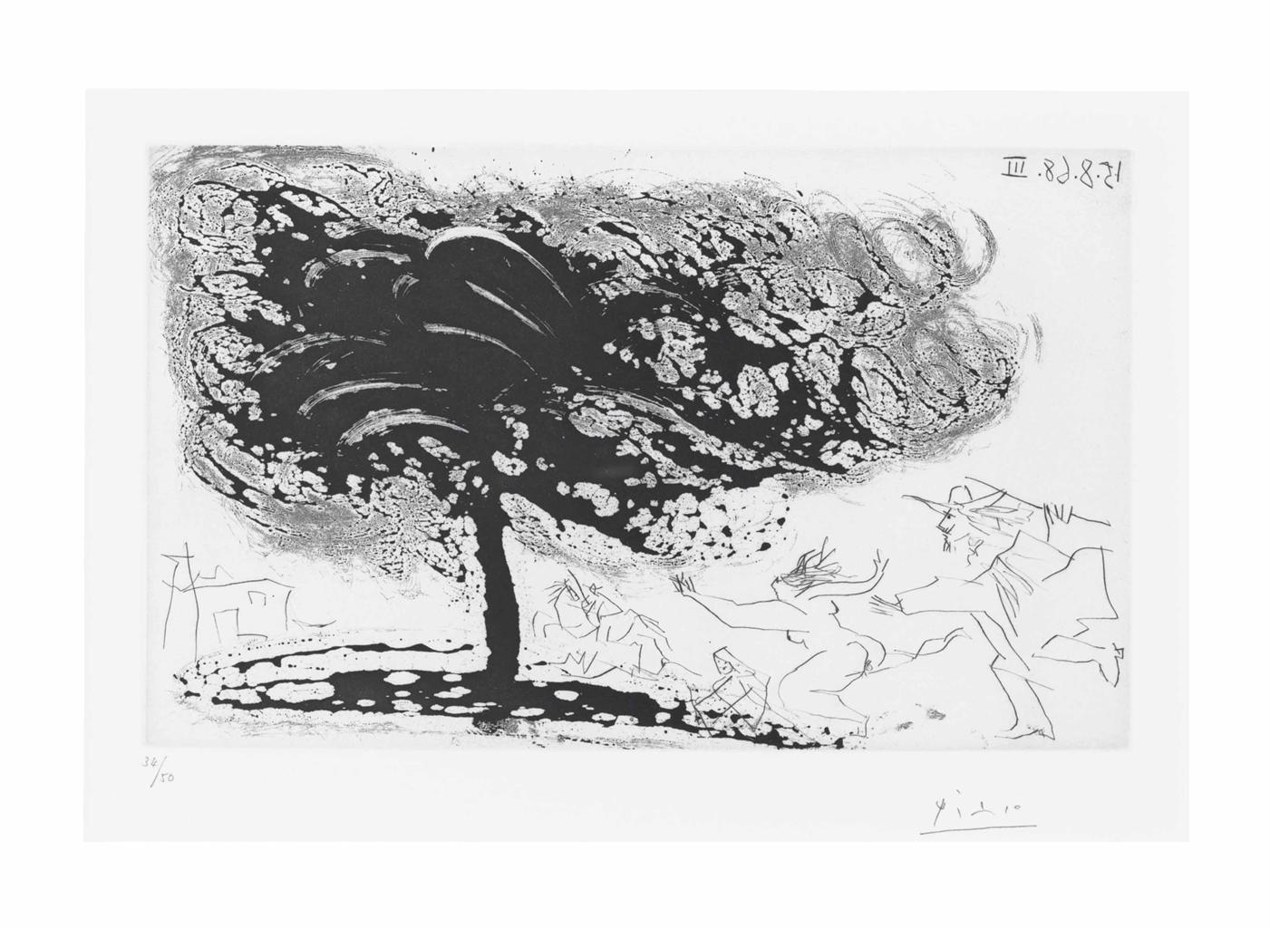 Pablo Picasso-Arbre dans la tempeteavec fuite vers une eglise, from La Serie 347-1968