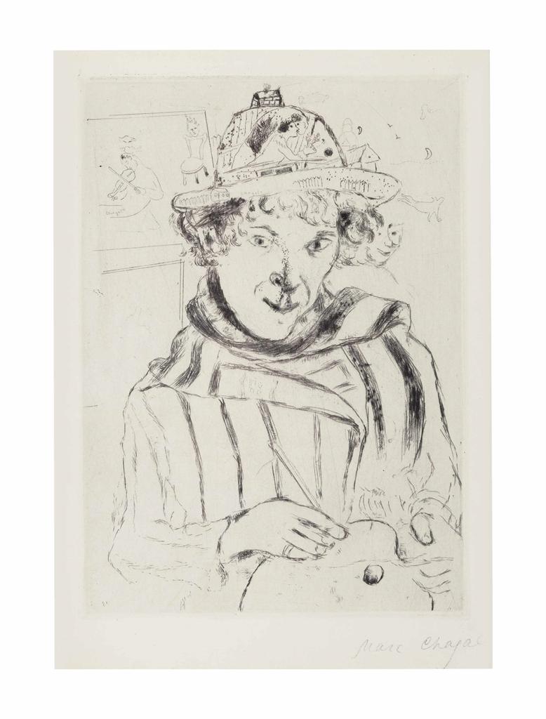 Marc Chagall-Selbstbildnis mit dem verzierten Hut-1928