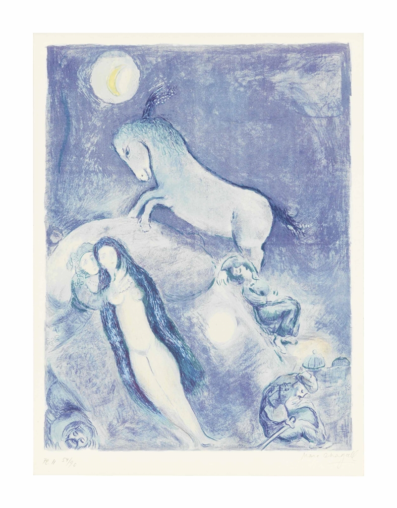 Marc Chagall-He went up to the Couch and found a young Lady asleep, chemised with her Hair as she were the full Moon rising over the eastern Horizon..., from Four Tales from the Arabian Nights-1948