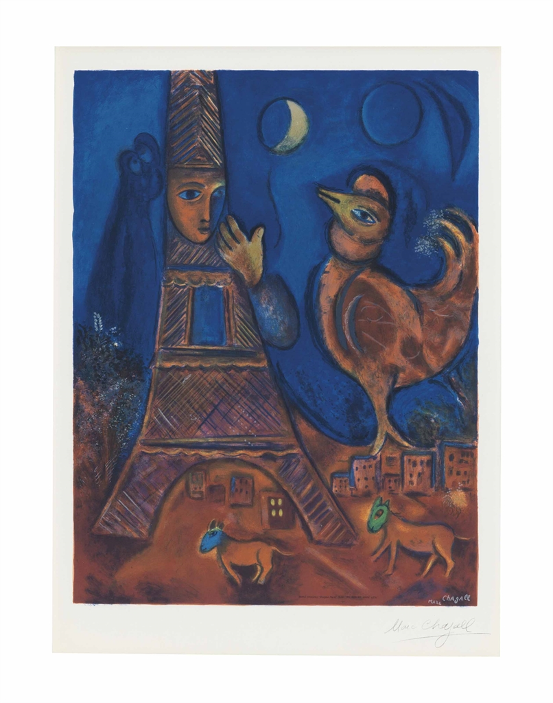 Marc Chagall-After Marc Chagall - Bonjour Paris-1972