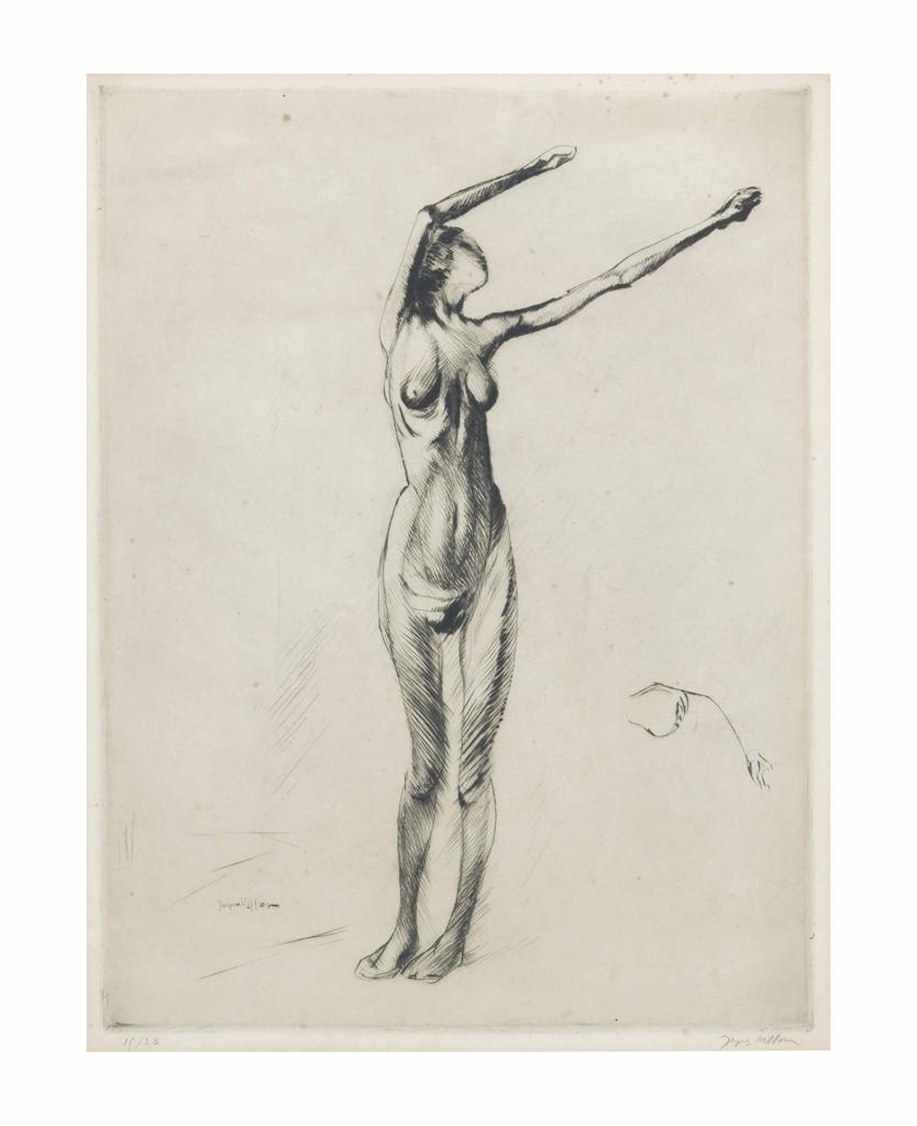 Jacques Villon-Nu Debout Bras en L'air-1910