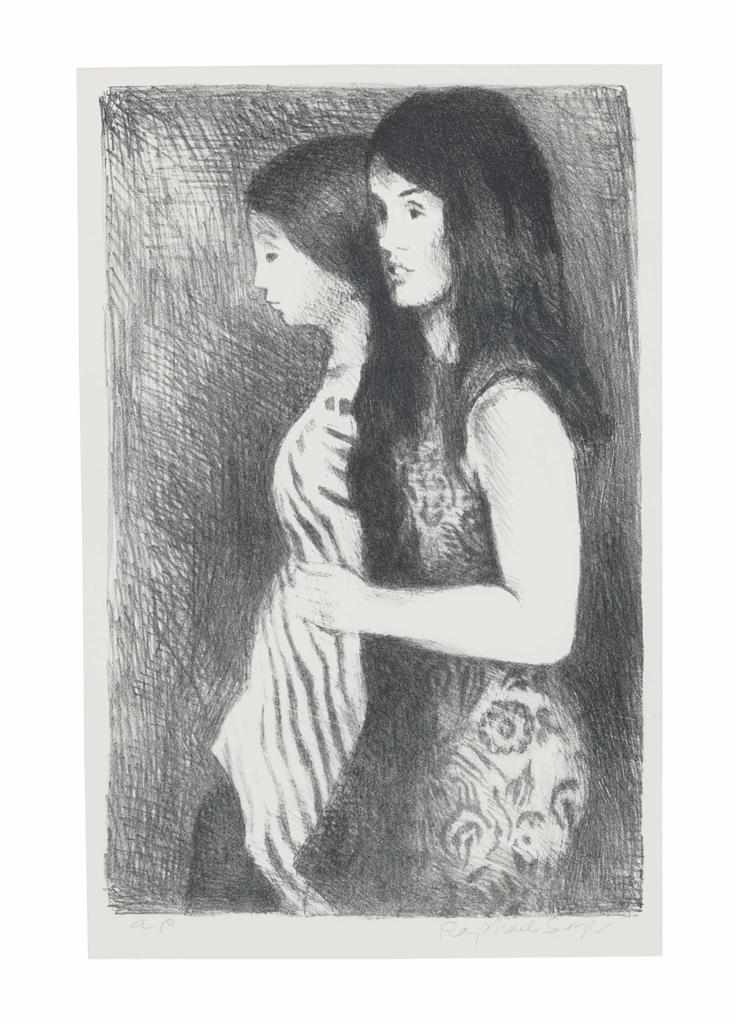 Raphael Soyer-[Two Girls]-