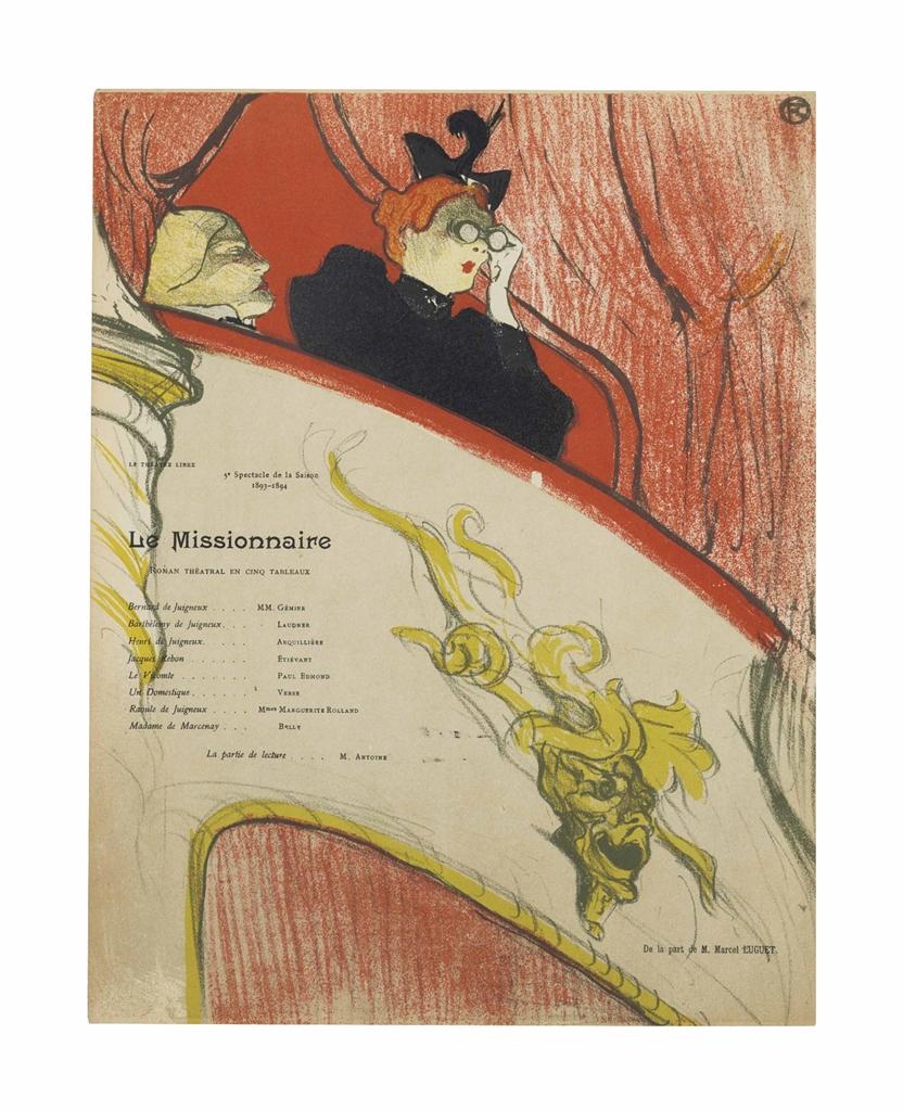 Henri de Toulouse-Lautrec-La Loge au mascaron dore-1893