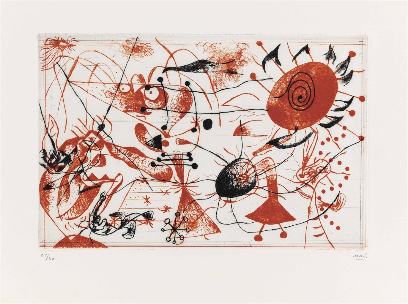 Joan Miro-Serie noire et rouge: one plate-1938
