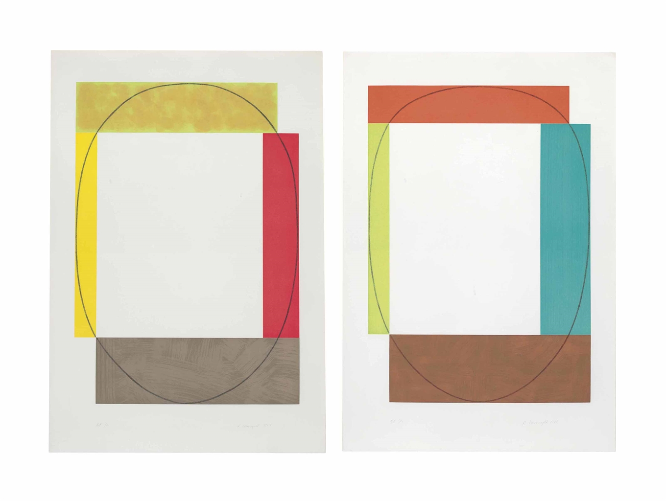 Robert Mangold-Two Aquatints (Frames)-1985