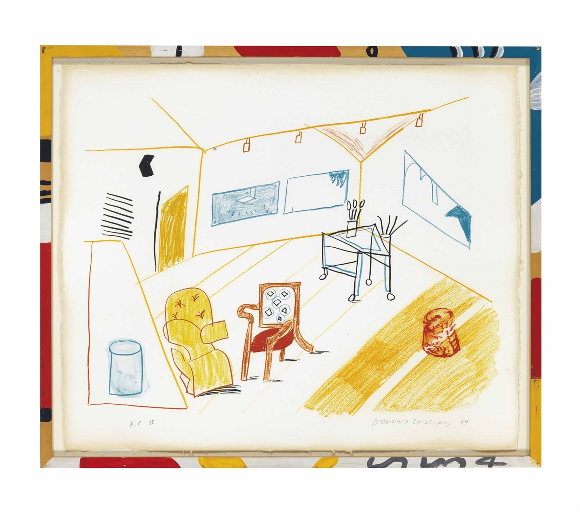 David Hockney-Conversation in the Studio, from Moving Focus-1984