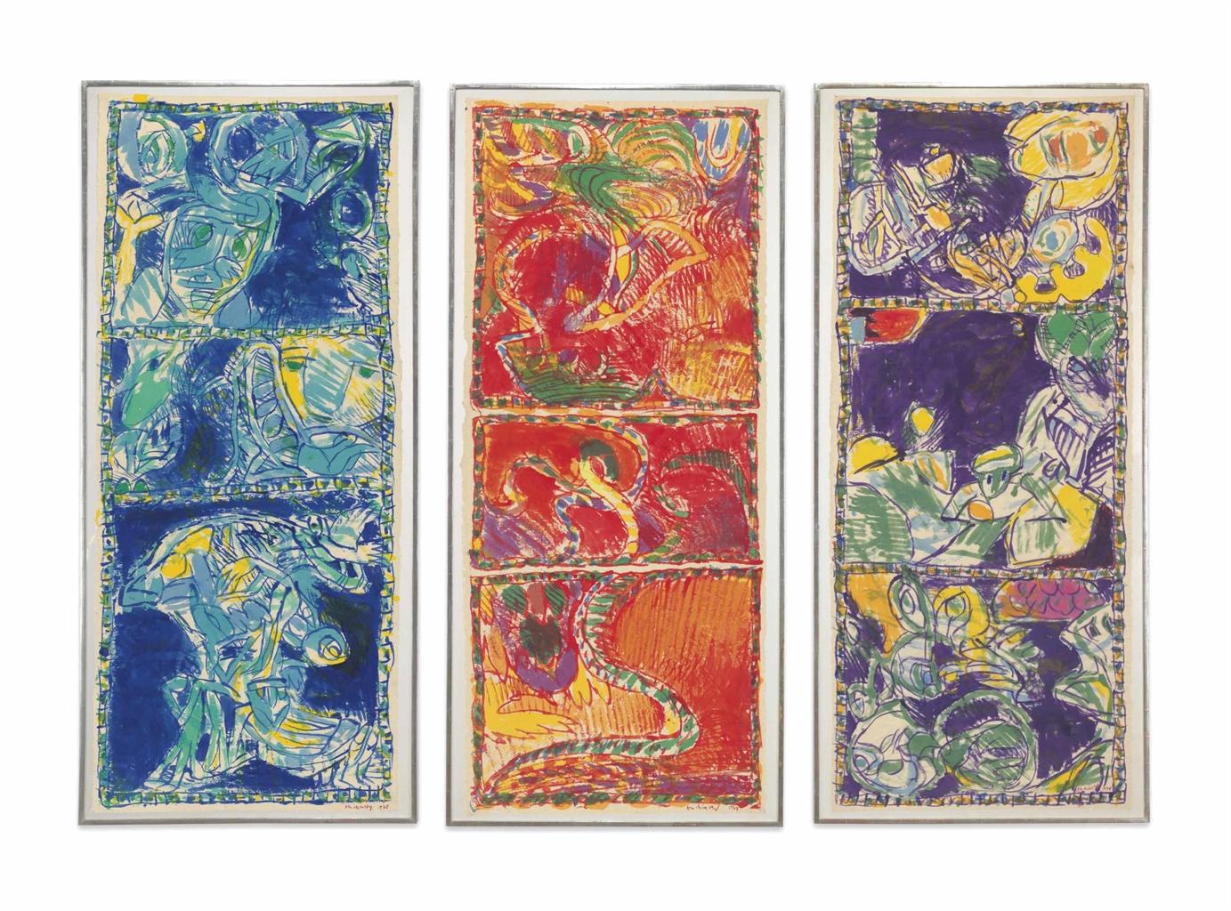 Pierre Alechinsky-(i) Sous la conduite de bleu (Led by Blue); (ii) Sous tutelle du rouge (Under the Trust of Red); (iii) Sous la domination du violet (Under the Domination of Violet)-1978