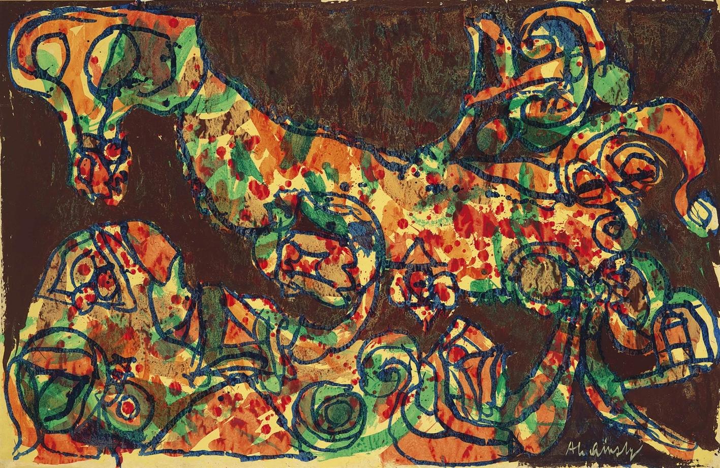 Pierre Alechinsky-Mante Portugoise (Portugese Mantis)-1969