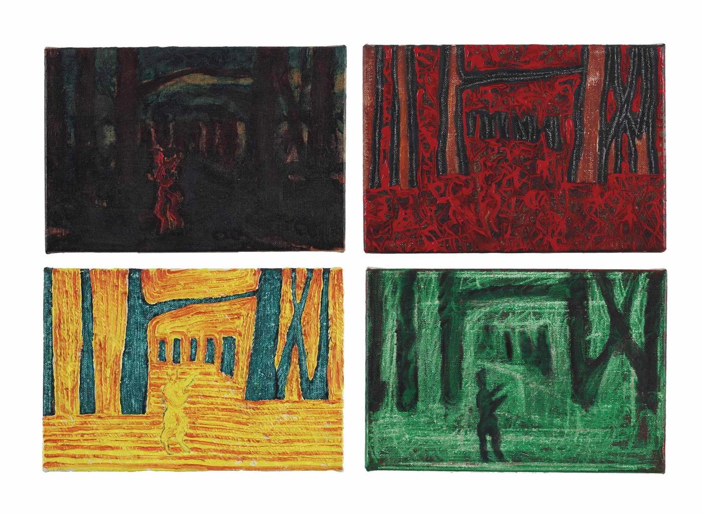 Axel Kassebohmer-(i) Landschaft mit Faun, Braun (Landscape with Faun, Brown); (ii) Landschaft mit Faun, Rot-Braun (Landscape with Faun, Red-Brown); (iii) Landschaft mit Faun, Grün, Gelb, Orange (Landscape with Faun, Green, Yellow, Orange); (iv) Landschaft mit Faun, Grün (Landscape with Faun, Green)-1989