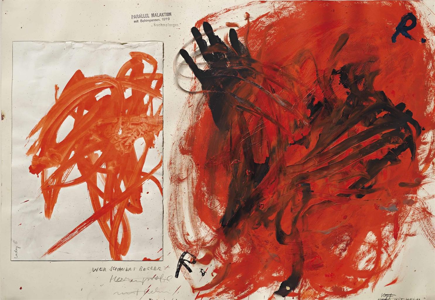 Arnulf Rainer-Parallel Malaktion mit Schimpansen (Parallel Action Painting with Chimpanzees)-1979