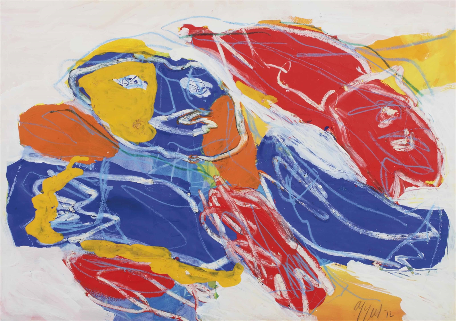 Karel Appel-Figure and Fish-1972