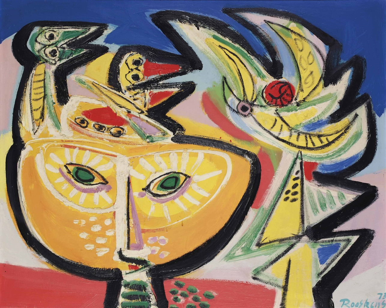Anton Rooskens-Mask, Birds and Flower-1973