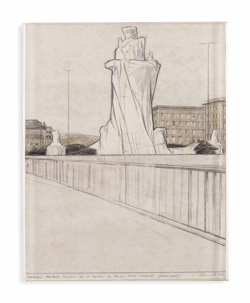 Christo and Jeanne-Claude-Wrapped Fountain-1975