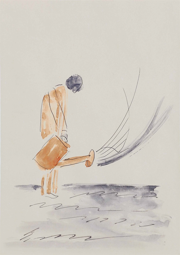 Rene Daniels-Untitled (Man with Watering Can)-1981