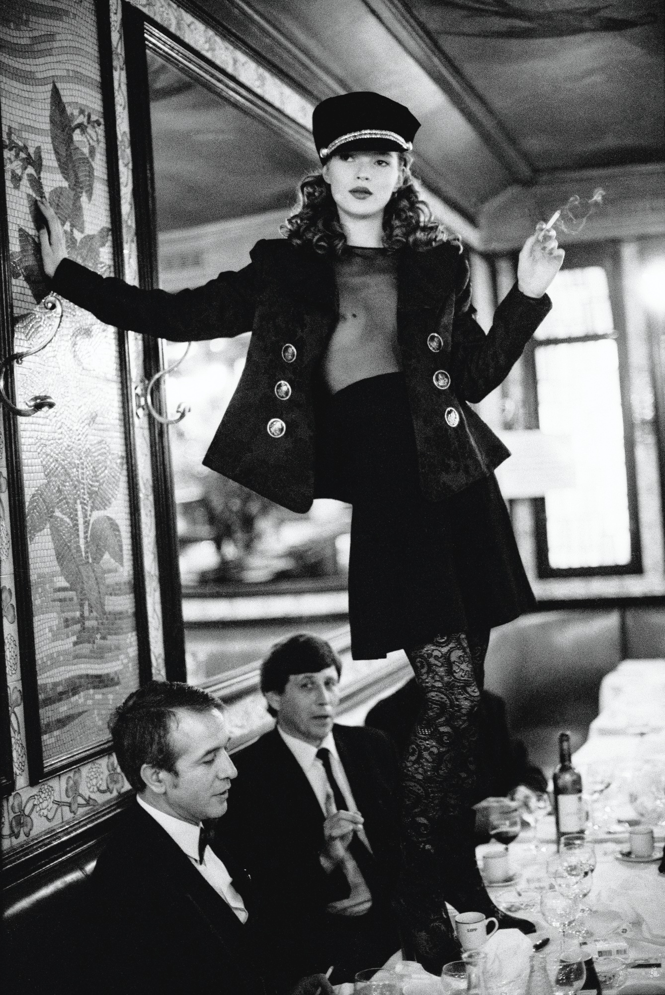 Arthur Elgort-'Kate Moss At Cafe Lipp' (Pour Vogue Italie)  -1993