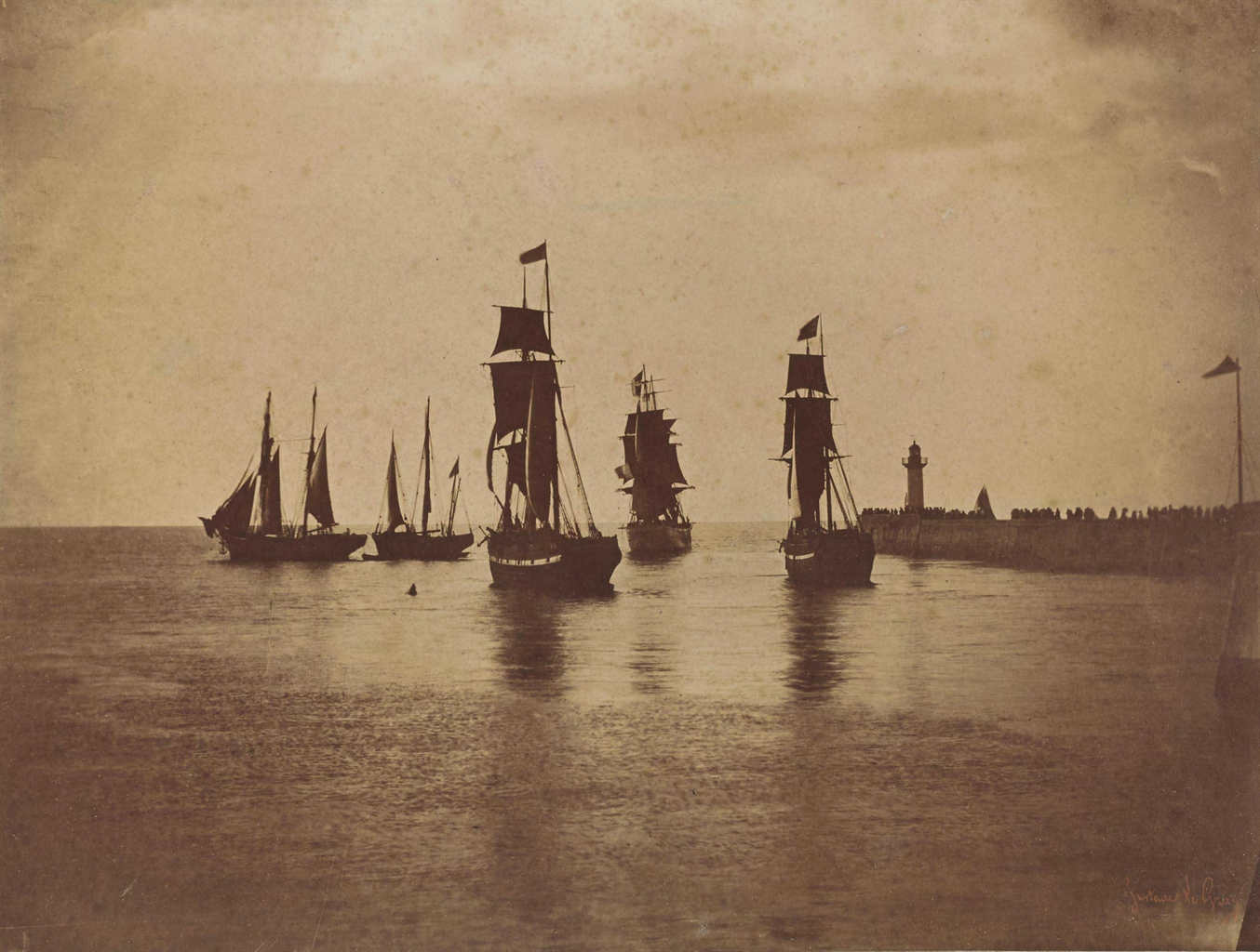 Gustave Le Gray-Bateaux quittant le port du Havre (navires de la flotte de Napoleon III), France-1857