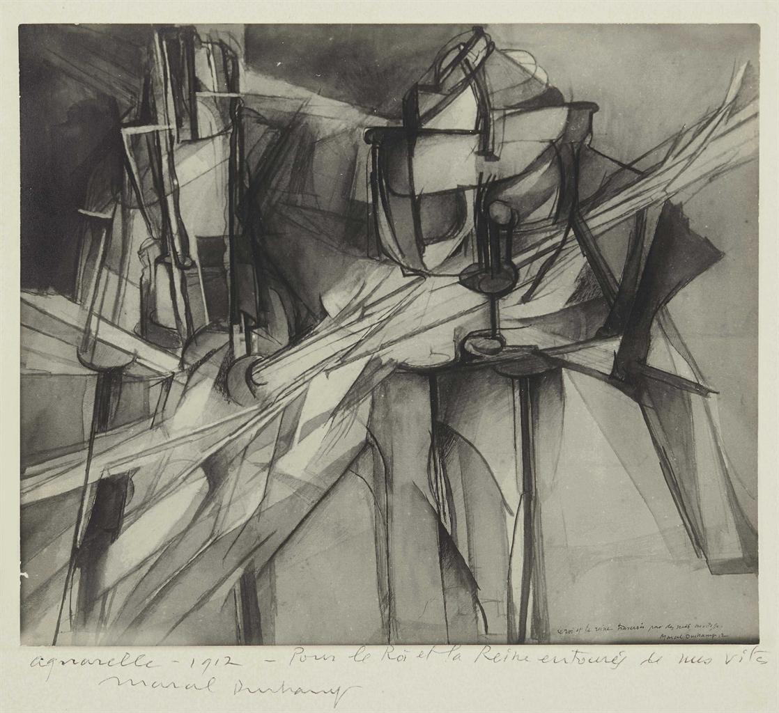 Man Ray-Le Roi et la Reine traverses par des nus en vitesse, Marcel Duchamp-1912