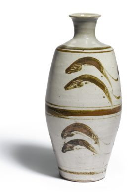 Bernard Leach-Vase With 'Leaping Fish' Design-1969