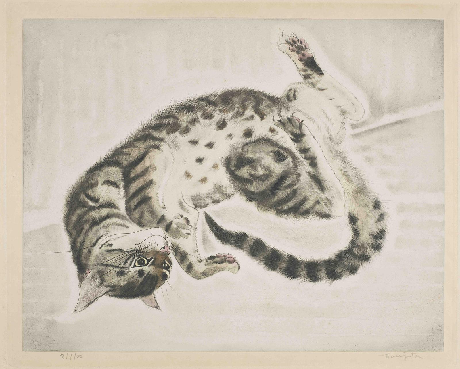 Tsuguharu Foujita-Twisting Cat, from Les Chats (Buisson 29.200.1)-1930
