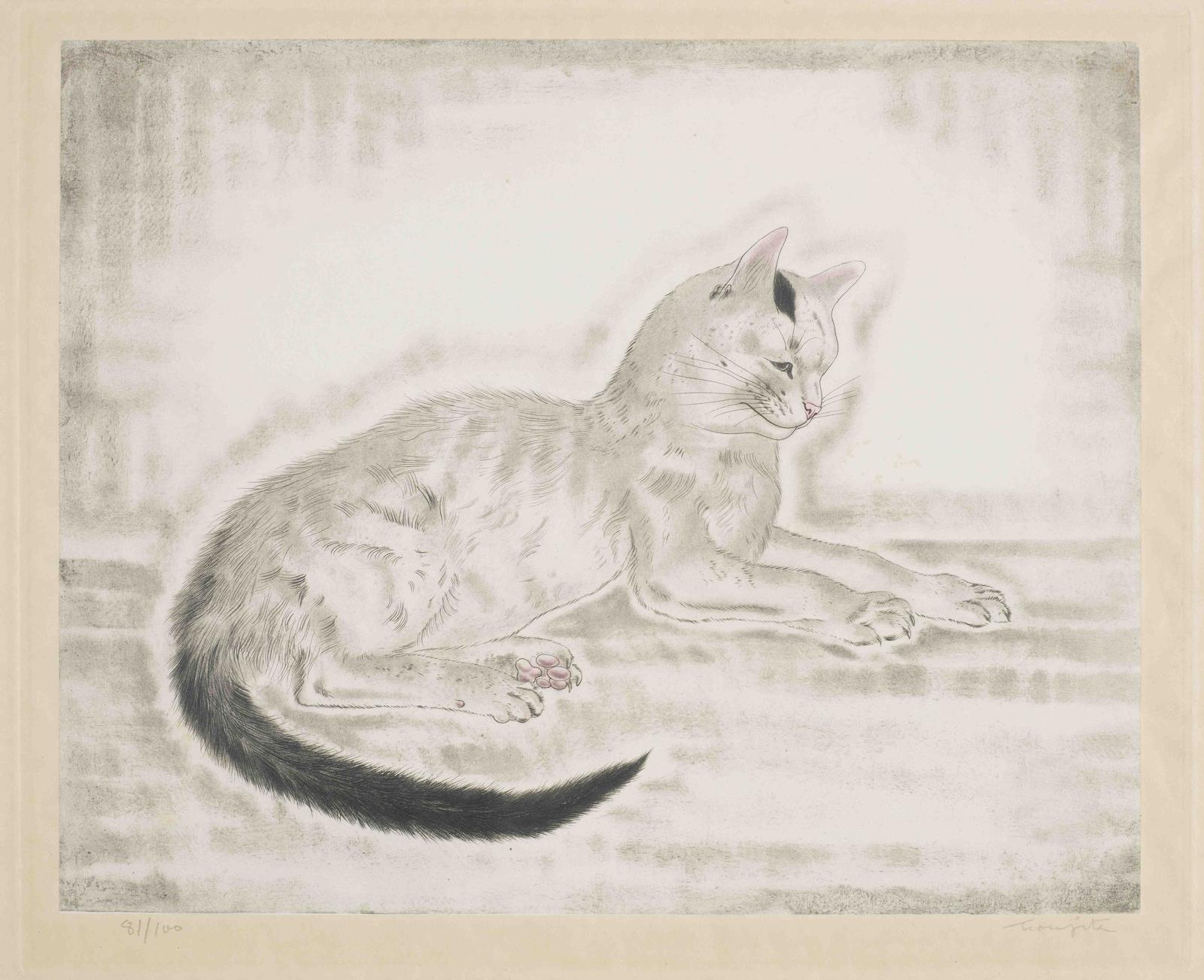 Tsuguharu Foujita-White cat with black tail, from Les Chats (Buisson 29.200.5)-1930