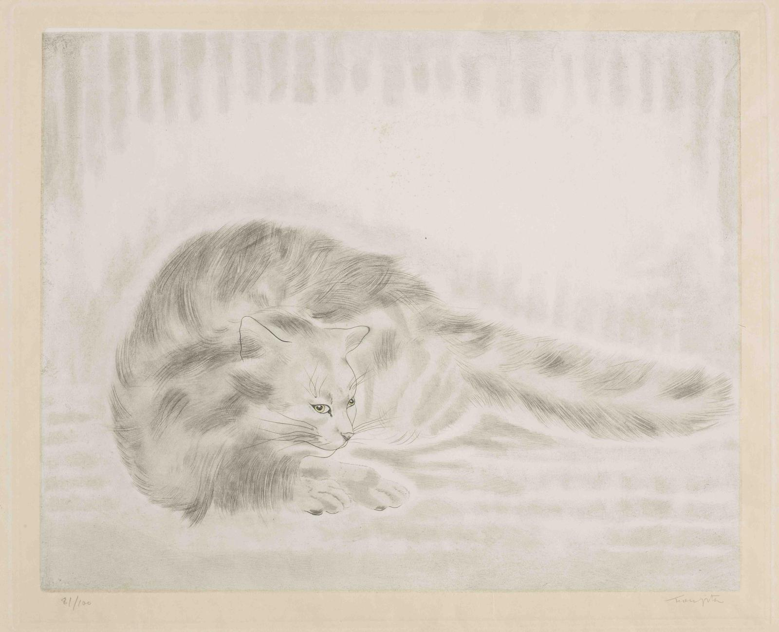 Tsuguharu Foujita-Fluffy Cat Lying Down, from Les Chats (Buisson 29.200.3)-1930